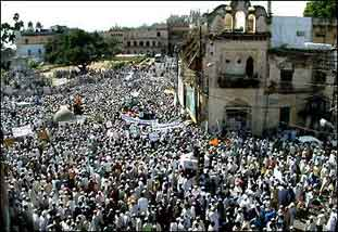 Protests against the US invasion of Iraq continued world-wide - in the clearest demonstration of united world opinion in history. This image from Bhopal